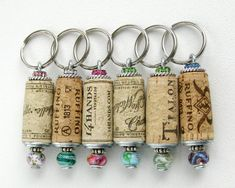 Your platform for buying and selling handmade items - A wine cork key ring is ideal for that wine lover in your life or for yourself. Each keychain uses - Wine Cork Projects, Wine Cork Crafts, Bottle Crafts, Craft Projects, Wine Cork Ornaments, Snowman Ornaments, Cork Art, Wedding Favors, Wedding Themes