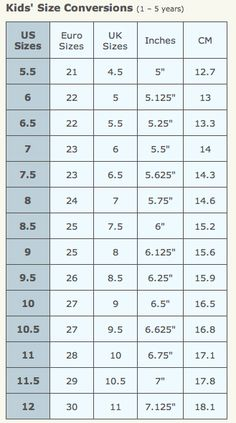 KIDS' SHOE SIZE CONVERSION CHART - includes women's shoe size ...