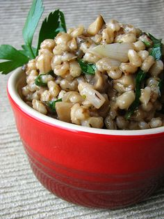 Hearty Mushroom Barley Salad II. Made with two small shallots instead of onion, herbes de Provence instead if Italian seasoning and cooked the barley in chicken broth.