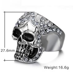 Vintage Europe Silver Plated Simulated Diamond Skull Rings Party King Men Ring Rock Punk Horrible Rings Like if you are Excited! #Jewelry #shop #beauty #Woman's fashion #Products