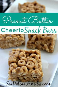Quick breakfast, after school snack or dessert at lunch, these peanut butter cheerio snack bars are a BIG hit every single time! No granulated sugar, no corn syrup and whole grain in the Cheerios!/ I used honey nut Cheerios Peanut Butter Cheerio Bars, Peanut Butter Recipes, Gourmet Recipes, Snack Recipes, Dessert Recipes, Desserts, Cheerios Recipes, Lunch Snacks, Snack Bar