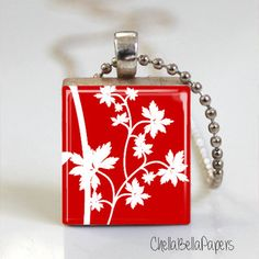 Red Floral Art Print  Scrabble Tile Pendant  by ChellaBellaPapers