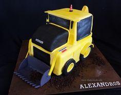 Backhoe cake Construction Cakes, Farm Cake, Volvo, Alice In Wonderland, Transportation, Toys, Activity Toys, Barnyard Cake, Clearance Toys