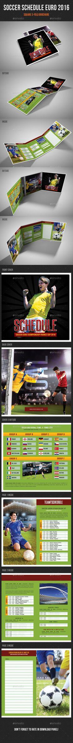Soccer Schedule Euro 2016 Square 3-Fold Brochure