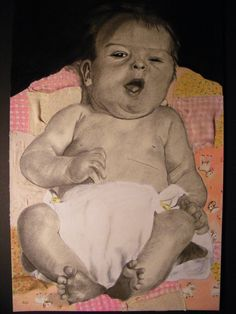 """""""Baby Me""""; 15x20""""; mixed media; Maggie T.; female; 18 yrs; Senior Portfolio. Maggie was a talented student. Her senior portfolio consisted of charcoal drawings using old family photos as references. She integrated artifacts into each one; this piece had pieces of her baby blanket glued into the drawing. Parts of the blanket are drawn, where parts were cut and glued in. While Maggie strived for realism, she played with mixing mediums and use of meaningful imagery."""