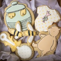 Winnie the Pooh Baby Shower Cookies - The Royal Icing Queen - Pooh, Piglet, Bees, Baby Rattle and Honey Pot