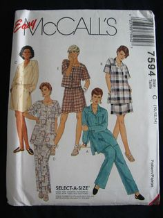 McCalls Womens Misses Shirt Pull On Pants Shorts by Vntgfindz