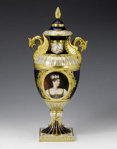 An large and important vase and cover by Humphrey Chamberlain Circa 1822. Of slender classical form with boldly modelled dragon handles picked out in gold, finely painted with a head and shoulder portrait of 'Her Royal Highness Princess Charlotte of Saxe Coburg