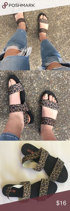 7e5adf907 Leopard Print Sandals Brown leopard or cheetah print sandals. Straps are  elastic except for the
