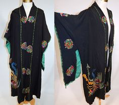 Vintage Art Deco Black Silk Colorful Metallic Embroidered Pheasant Kimono Robe Coat This vintage amazing Art Deco black silk colorful metallic embroidered pheasant kimono robe coat dates from the 1920s. It is made of a black silk crepe de chine fabric, with bright vibrant colorful chain stitch embroidery work and gold metallic thread outlining the Chinese pheasant bird on the front and decorative Art Deco abstract spiral medallions.