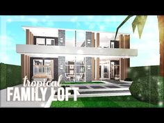 Bloxburg: Tropical Family Loft (no advanced placing) Two Story House Design, Tiny House Layout, House Layouts, Modern House Design, Loft House, House Rooms, Home Building Design, Building A House, House Outline