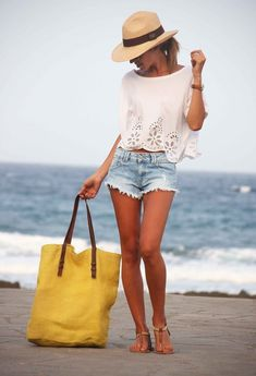 Cutoffs and a straw hat are beach vacation must-haves!