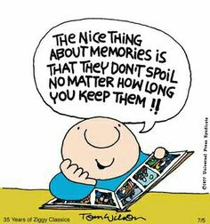 """The nice thing about memories is that they don't spoil no matter how long you keep them! Reunion Quotes, Ziggy Cartoon, School Reunion, Snoopy, Funny Cartoons, Positive Thoughts, Funny Posts, Funny Quotes, Cartoon Quotes"