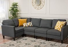 Buy Carolina Fabric Sectional Sofa / Storage Ottoman securely online today at a great price. Carolina Fabric Sectional Sofa / Storage Ottoman available today at HugoFurniturePla. Grey Sectional, Fabric Sectional, Narrow Living Room, Small Living, Narrow Rooms, Best Sectionals, Diy Home, Home Decor, Couch Set