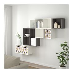 Bilderesultat for eket ikea Living Room Storage, Home Living Room, Living Room Designs, Ikea Storage Boxes, Storage Boxes With Lids, Lid Storage, Wall Storage, Ikea Eket, Ikea Wall