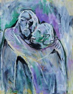En este cuadro que representa el beso de Judas, el tratamiento del color varía con respecto a las obras que componen el ciclo de La Pasión. Se introducen otras tonalidades. En este abrazo la separación de los cuerpos está indefinida, como si los dos se uniesen espiritualmente hacia un final escrito e inamovible.