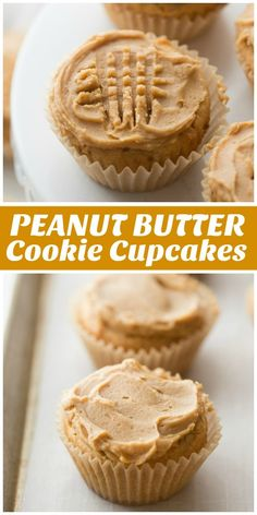 Recipe for Peanut Butter Cookie Cupcakes, originally from Martha Stewart. These cookies are in cupcake form with peanut butter frosting. Peanut Butter Cupcakes, Best Peanut Butter, Peanut Butter Cookie Recipe, Köstliche Desserts, Delicious Desserts, Dessert Recipes, Cool Cupcake Recipes, Basic Cupcake Recipe, Banana Split