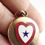 Guilloche Enamel Heart Antique Victorian Locket Pendant