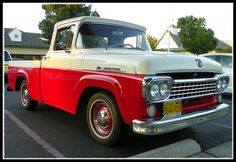 1958 Ford F100. Red & White.