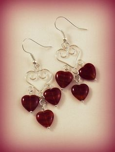 Red Hot Glass Heart Wire Earrings by Annie O by RoseCottageVintage, $11.99