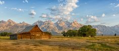 A landscape view of one of the beautiful farm houses on mormon row at Gran Teton National Park in Wyoming.