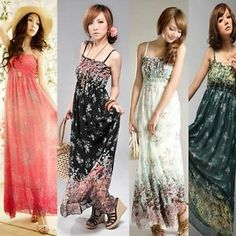 Sundresses for the Beach | Sexy Women Lady Bohemian Casual Beach Sundress Chiffon Strap Adjusted ...