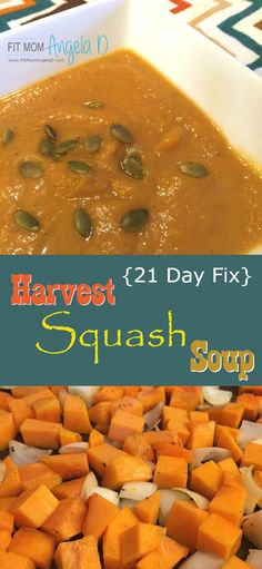 This healthy Harvest Squash Soup is full of FALL flavors - rich and creamy and 21 Day Fix Approved!  This soup WILL be making an appearance on our Thanksgiving table!  | Clean eats | Healthy Soup | Fall Dinner Ideas | Butternut Squash and Pumpkin Soup  | www.FitMomAngelaD.com