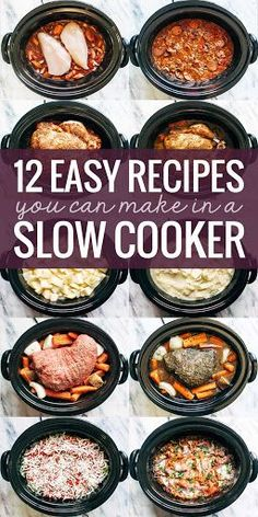 12 SUPER easy recipes you can make in a slow cooker, from veggie lasagna to a whole roasted chicken to pot roast! 12 SUPER easy recipes you can make in a slow cooker, from veggie lasagna to a whole roasted chicken to pot roast! Crock Pot Food, Crockpot Dishes, Crock Pot Slow Cooker, Slow Cooker Lasagna, Crock Pot Dump Meals, Crock Pots, Easy Crockpot Recipes, Roast In Crockpot, Easy Healthy Crockpot Recipes