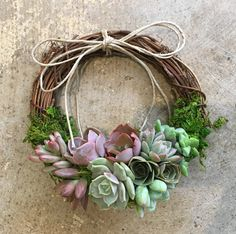 6 Succulent Juliette Wreath Grapevine wreath trimmed with Succulents Hostess gift Mothers Day Thank You gift Easter Client gift Succulent Gifts, Succulent Wreath, Succulent Centerpieces, Succulent Care, Succulent Terrarium, Terrariums, Diy Wreath, Grapevine Wreath, Wreath Crafts