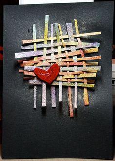 Paper Weaving for Valentine's Day Paper Weaving, Art Journal Inspiration, Heart Art, Elementary Art, Teaching Art, Altered Art, Art Lessons, Cardmaking, Art For Kids