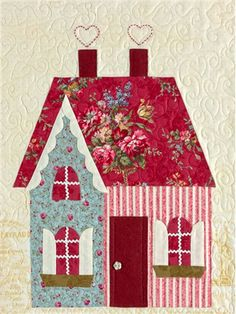 """Sweetheart Houses Block 3 Kit: **Please note, this kit is for Block 3 only.** Block 3 of Sweetheart Houses by Shabby Fabrics. Block finishes to 14"""" x 18"""". Kit includes pattern and all top fabrics."""