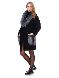 Пальто черное с мехом чернобурки - DANNA - 2701825