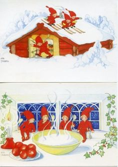 4-NEW-Assorted-Swedish-Christmas-Postcards-Art-by-Aina-Stenberg-Tomte-Gnome
