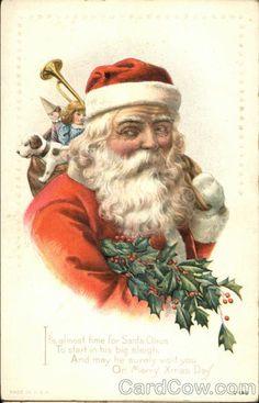 Fine Red Robe Santa with Gifts Original Vintage Christmas Postcard Christmas Fonts, Old Christmas, Victorian Christmas, Father Christmas, Christmas Postcards, Christmas Printables, Xmas Cards, Beautiful Christmas, Christmas Ideas