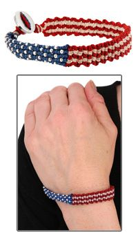 Red White & Blue Woven Bracelet at The Animal Rescue Site