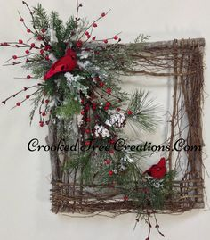 Square Wreath With Cardinals