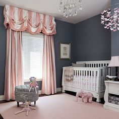 Girl nursery...I'd go a little lighter on the gray walls though.
