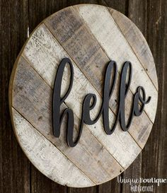 """Round Circle door Hanger HELLO Sign 19"""" White painted reclaimed wood shiplap Rustic Striped Farmhouse Decor Distressed Hanging wooden art"""