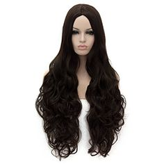"Netgo 32"" Dark Brown Wig for Women Long Wavy Curly Heat R..."