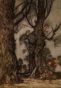 "Arthur Rackham, Peter Pan - ""and linkmen running in front carrying winter cherries, which are the fairy-lanterns"""