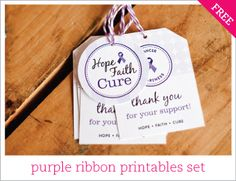 Free purple ribbon printables set  Relay for Life