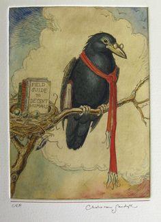 Charles Van Sandwyk (Canadian artist born - Crow w/ Field Guide to Decent Humans Crow Art, Raven Art, Bird Art, Art And Illustration, Choucas Des Tours, Fantasy Character, Quoth The Raven, Crows Ravens, Photo D Art