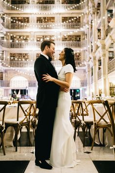 A wintery library wedding with the most magical reception at the George Peabody Library in Baltimore - 100 Layer Cake Peabody Library, Library Wedding, 100 Layer Cake, New York Wedding, Wedding Portraits, Formal Dresses, Wedding Dresses, Baltimore, Reception