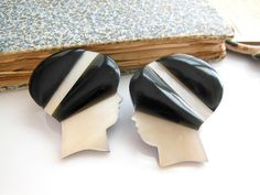 Vintage Philippines White Mother Of Pearl Woman With Black Hat Earrings II1 by…