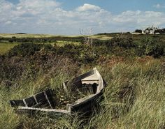 Alfred Eisenstaedt: Broken old rowboat cushioned in tall wild grass, with a view of a house in distance.