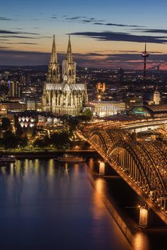 "A beautiful view at Cologne, one of the cruise stops on our Christmas cruise: ""Cologne at dusk"" Germany -- by Villy. Köln"