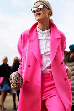 Pink Jacket and Pants image via The Sartorialist The Sartorialist, Pink Fashion, Love Fashion, Winter Fashion, Womens Fashion, Fashion Trends, Net Fashion, Paris Fashion, Color Fashion