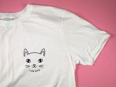 White cat face t shirt cat tee I like cats by ilikeCATSshop