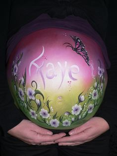 bellypaint flowers and butterfly www.hierishetfeest.com