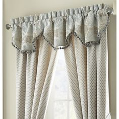 Jonet Cream/Aqua 3 Piece Cascade Valance Set by Waterford Waterford Bedding, Linen Comforter, Comforter Sets, Valance, Curtains, Black Bed Linen, Luxury Bedding Collections, Table Linens